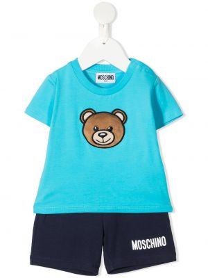 Niebieski dres bawełniany krótki rękaw Moschino Kids