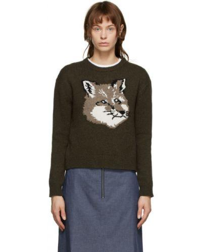 С рукавами длинный свитер хаки с воротником с манжетами Maison Kitsuné