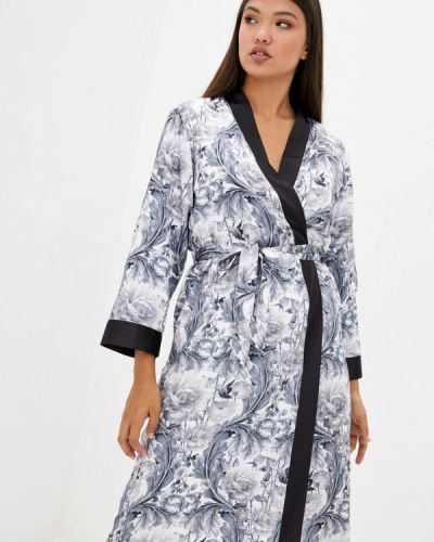 Серый кружевной домашний халат Komilfo
