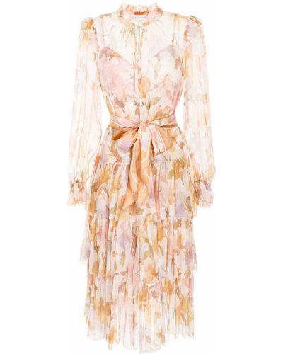 Оранжевое платье миди с принтом Zimmermann
