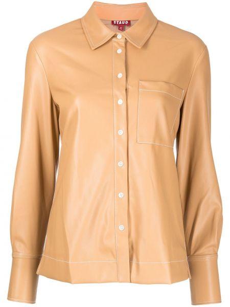 Кожаная рубашка - коричневая Staud