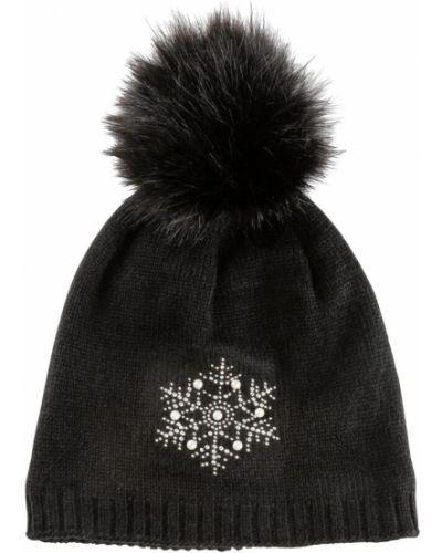 Черная шапка с помпоном из искусственного меха Bonprix