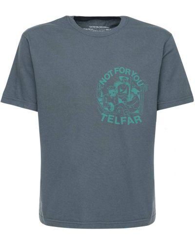Czarny t-shirt bawełniany z printem Telfar