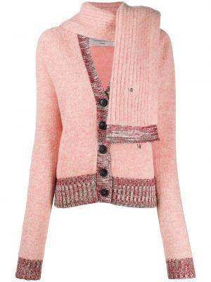 Шерстяной розовый кардиган с вышивкой в рубчик Victoria Beckham