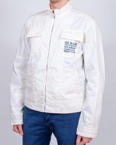 Спортивная кожаная куртка - белая Iceberg