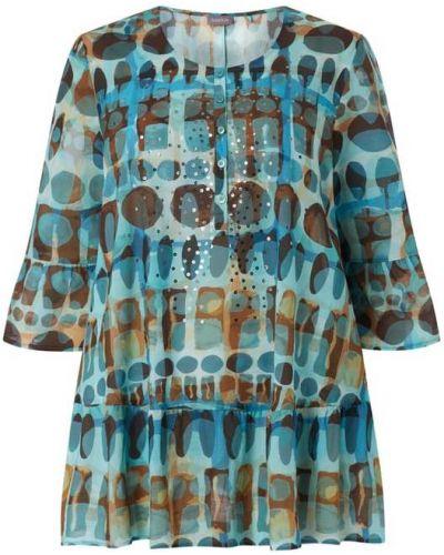 Bluzka z falbanami bawełniana turkusowa Samoon