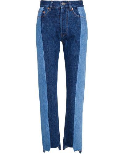 Синие прямые джинсы пэчворк Forte Couture