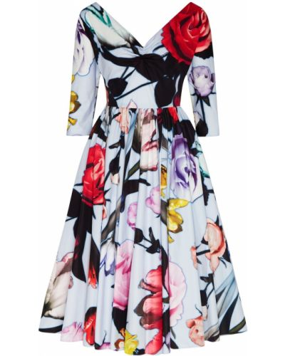Платье миди с цветочным принтом коктейльное Prada