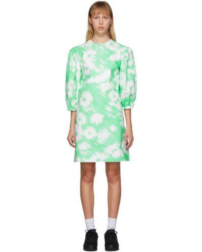 Платье с цветочным принтом с отложным воротником Msgm