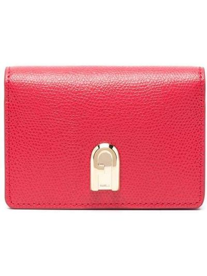 Золотистый красный кожаный кошелек Furla