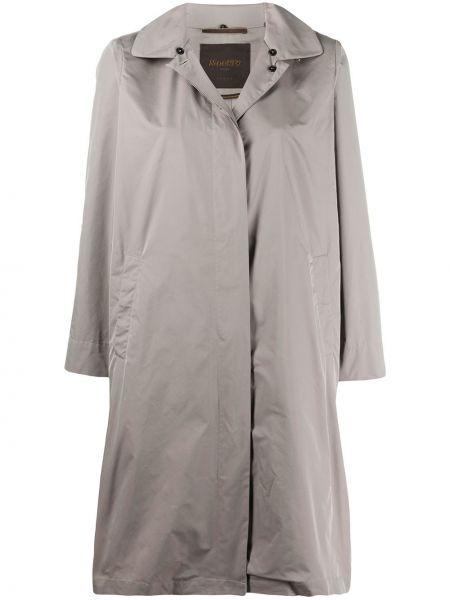 Серое длинное пальто с капюшоном с воротником Moorer