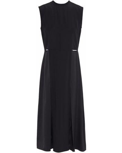 Плиссированное черное платье миди с вырезом Victoria, Victoria Beckham
