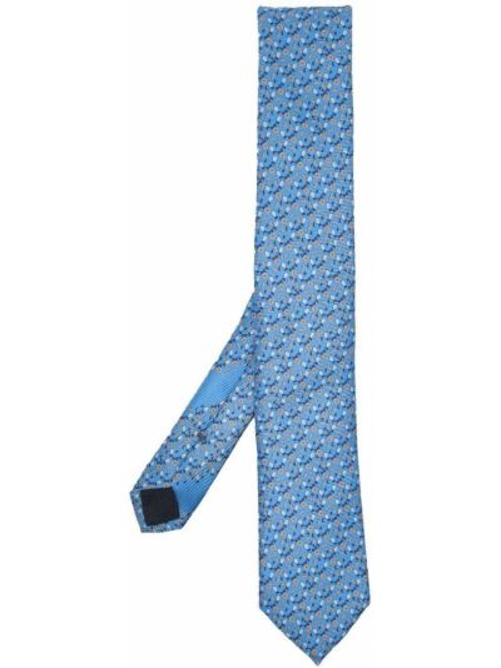 Żółty krawat z jedwabiu z printem Ermenegildo Zegna