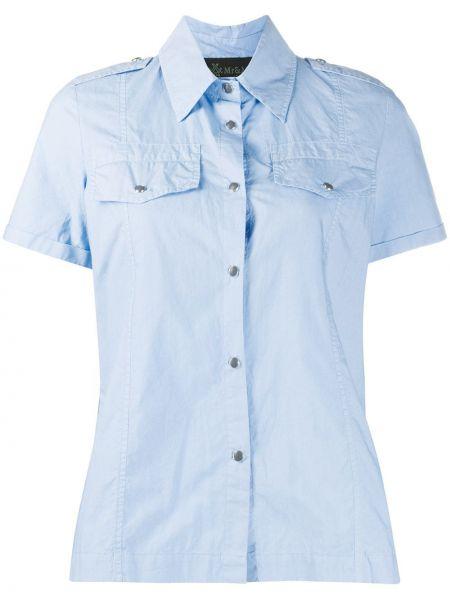 Синяя классическая рубашка с вышивкой с воротником на пуговицах Mr & Mrs Italy