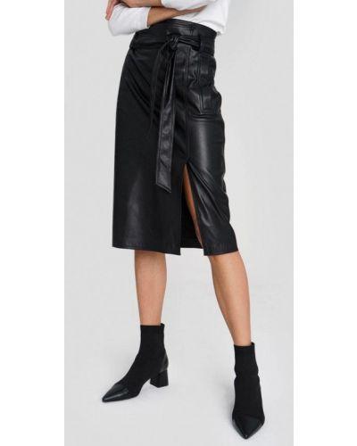 Кожаная черная юбка O'stin