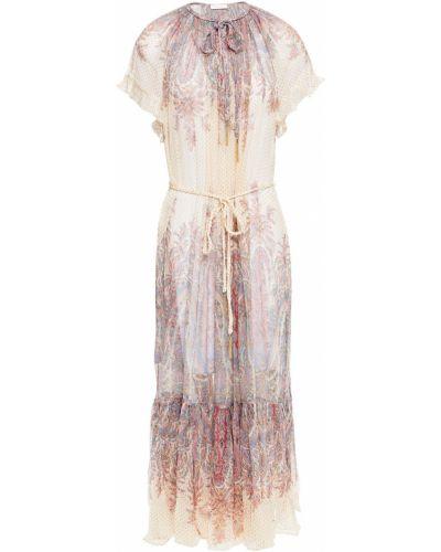 Шелковое платье миди - золотое Zimmermann
