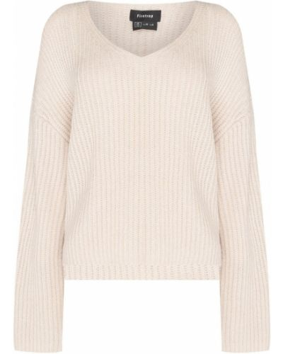 Biały sweter z dekoltem w serek Firetrap