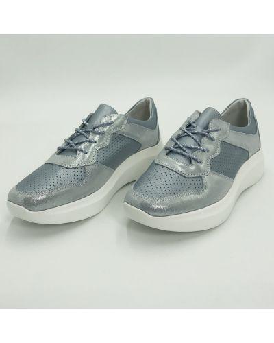 Кожаные кроссовки - голубые Gabis