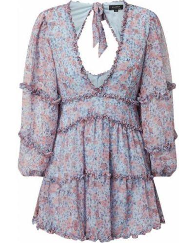 Sukienka rozkloszowana z falbanami - niebieska Bardot
