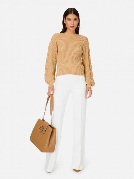 Коричневый шерстяной свитер Elisabetta Franchi
