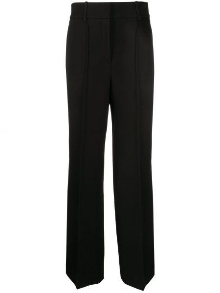 Wełniany czarny szerokie spodnie z paskiem bezpłatne cięcie Givenchy