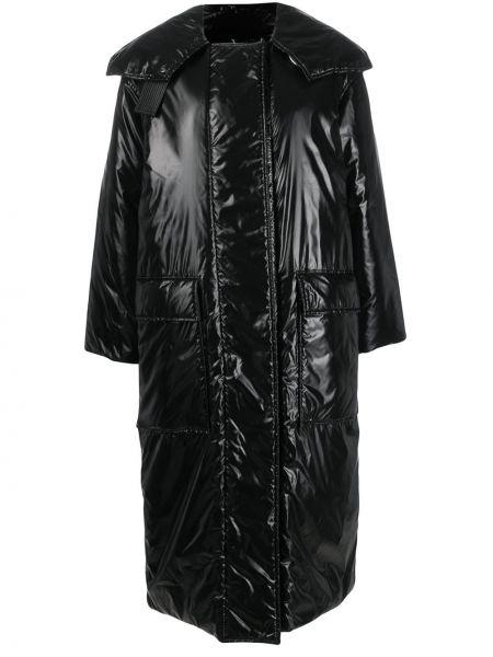 Черный кожаный длинное пальто оверсайз Givenchy
