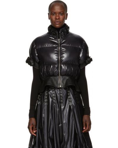 Кожаная куртка черная стеганая Moncler Genius
