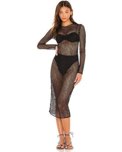 Текстильное черное платье миди сетчатое Michael Costello