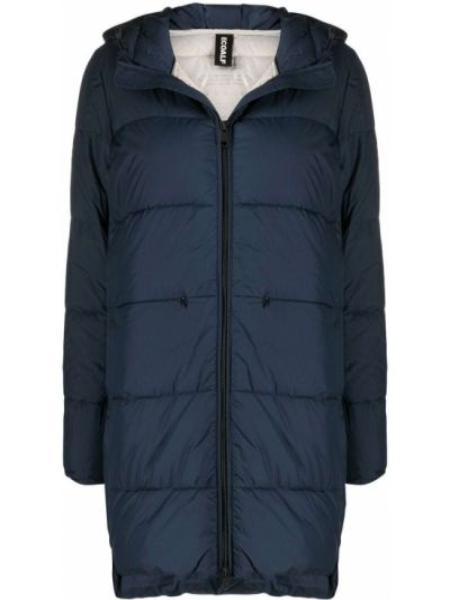 Пуховое синее стеганое пальто с перьями с карманами Ecoalf