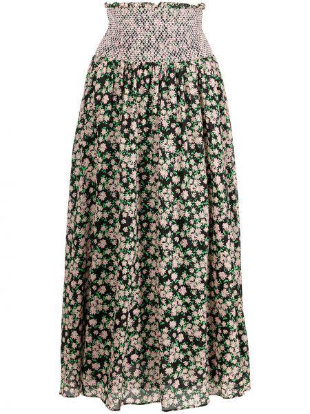 Хлопковая юбка миди в цветочный принт без застежки Alice+olivia
