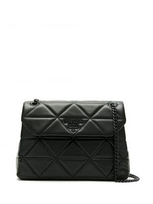 Кожаная стеганая черная сумка на цепочке Prada