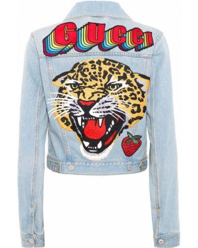 Джинсовая куртка с вышивкой синий Gucci