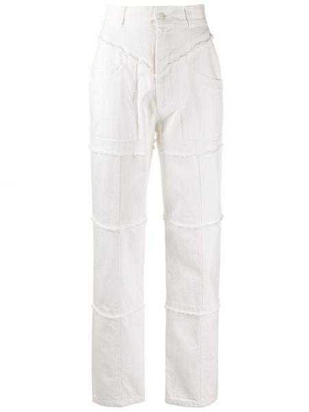 Białe jeansy z wysokim stanem bawełniane Ambush