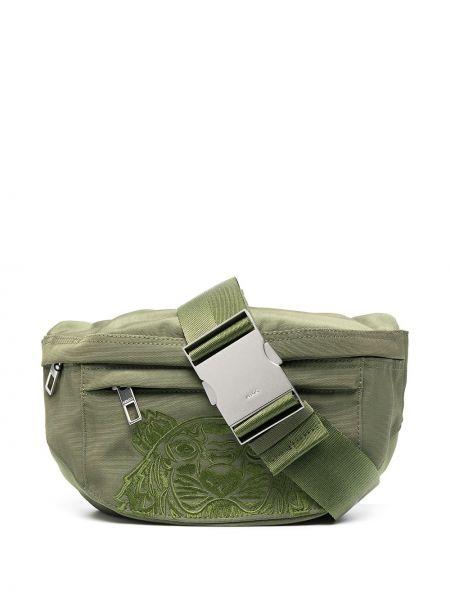 Зеленая поясная сумка с вышивкой на молнии Kenzo