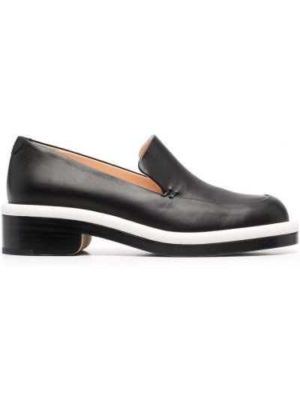Loafers na obcasie - czarne Nicholas Kirkwood