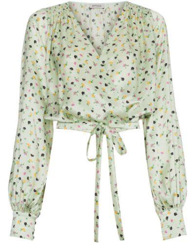 Блузка с запахом зеленый Attico