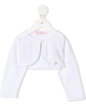 Biały bolerko z długimi rękawami bawełniany Miss Blumarine