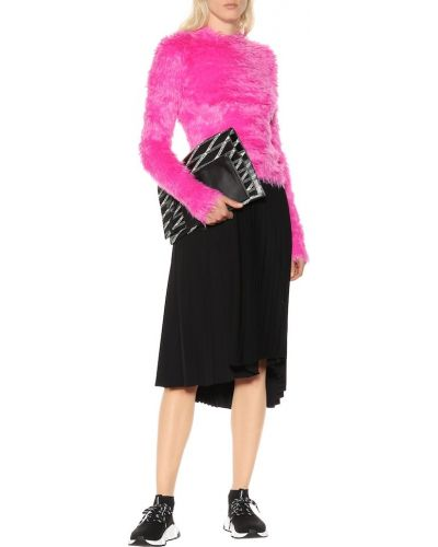 Różowy sweter sztuczne futro Balenciaga