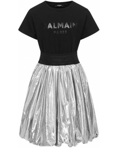 Czarna sukienka midi w paski Balmain