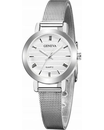 Biały klasyczny zegarek srebrny Geneva