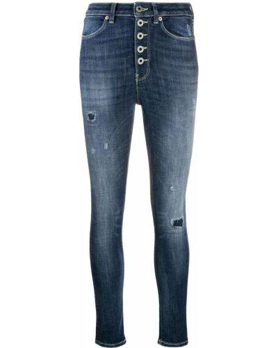 Синие хлопковые джинсы-скинни на молнии Dondup