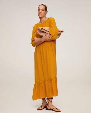 Платье со складками с оборками Mango