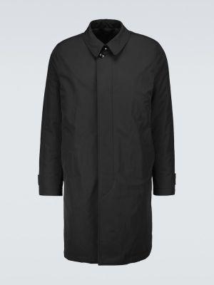 Czarny płaszcz przeciwdeszczowy zapinane na guziki skórzany Tom Ford