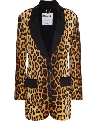 Шелковый пиджак с карманами с опушкой Moschino