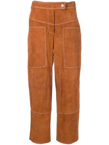 Коричневые прямые укороченные брюки с воротником с поясом Desa 1972