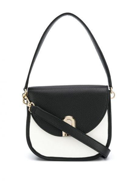 Черная кожаная сумка с карманами из натуральной кожи с заплатками Furla
