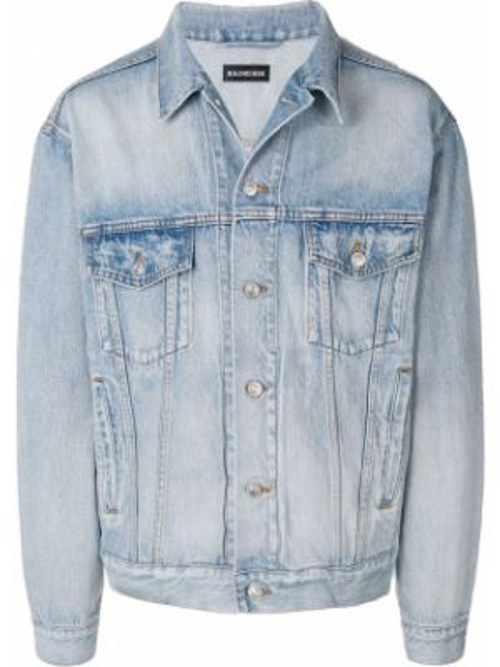 Мешковатая синяя джинсовая куртка на пуговицах прозрачная Balenciaga