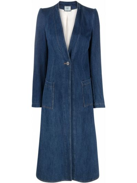Хлопковое синее длинное пальто на пуговицах Forte Forte