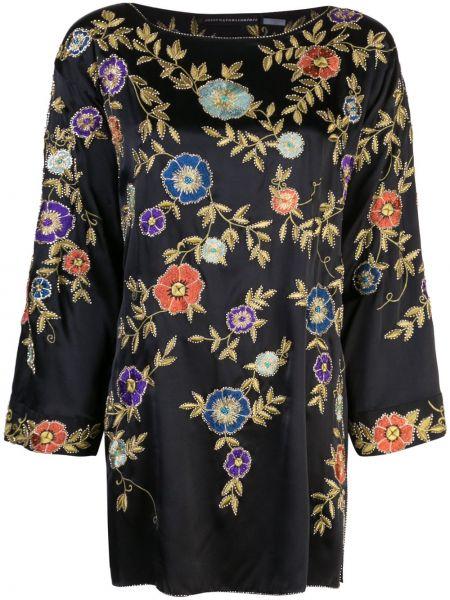 Czarna tunika z haftem z jedwabiu Josie Natori Couture