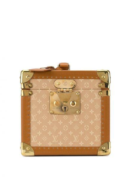 Золотистый коричневый кожаный чемодан Louis Vuitton
